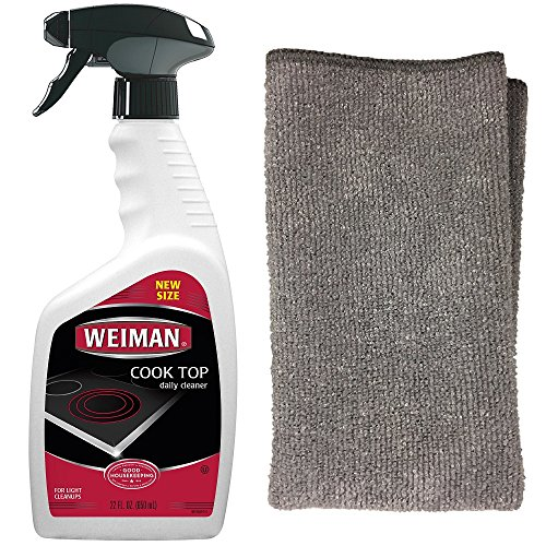 Weiman Daily Cooktop Heavy Duty Cleaner & Polish (22 Fl Oz.) - Microfiber Cloth (1 Cloth) - Shines and Protects Glass/Ceramic Smooth Top Ranges with its Gentle Formula