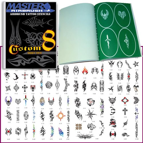 Master Airbrush® Brand Airbrush Tattoo Stencils Set Book #8 Reuseable Tattoo Template Set, Book Contains 100 Unique Stencil Designs, All Patterns Come on High Quality Vinyl Sheets with a Self Adhesive Backing. ()