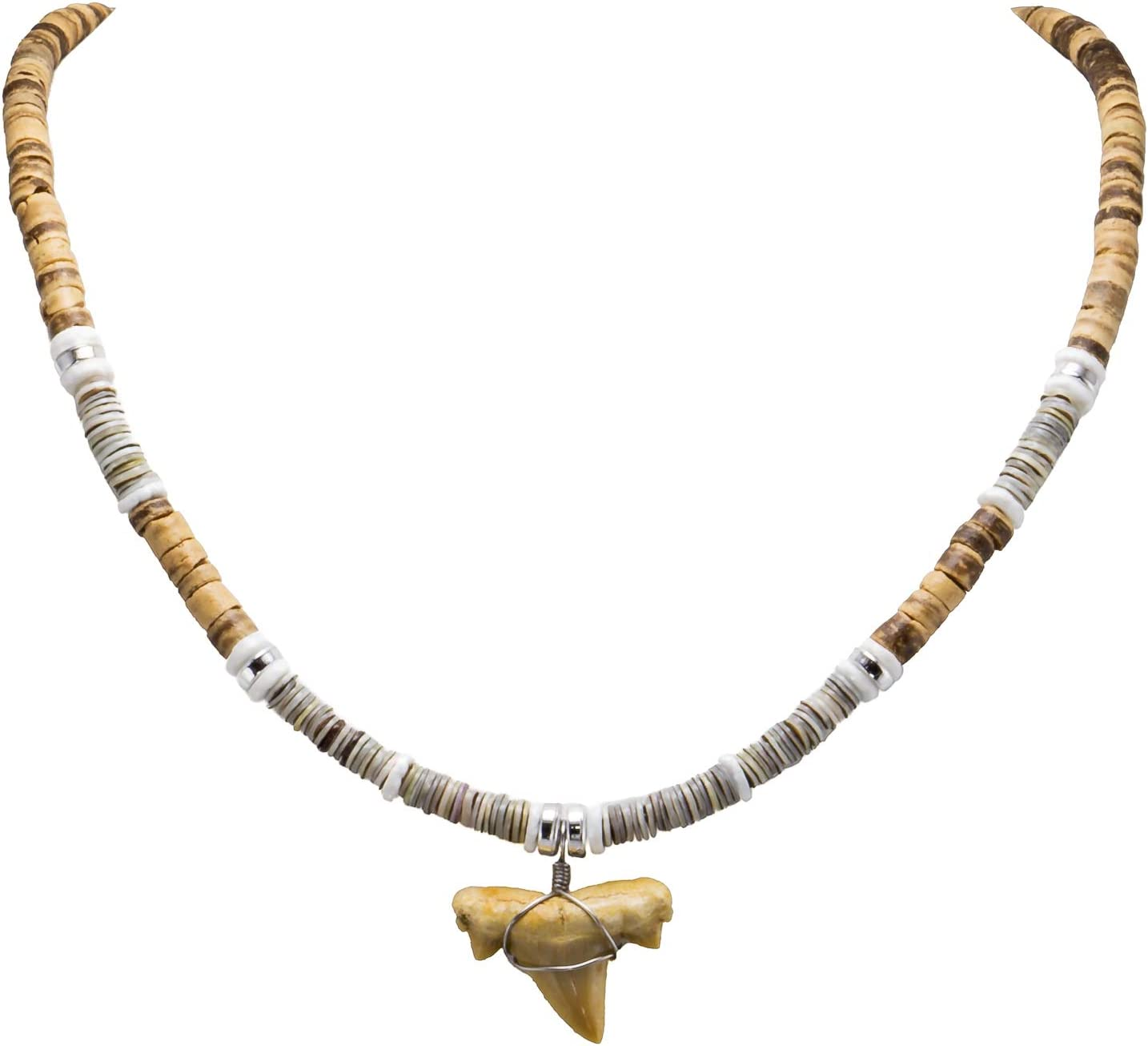 BlueRica Shark Tooth Pendant on Tiger Coconut Beads, Grey Heishi and Puka Shell Beads Necklace (2S)