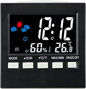 iTimo Multifunction LCD Digital Alarm Clock, with Thermometer Hygrometer Calendar, Weather Forecast Display Type