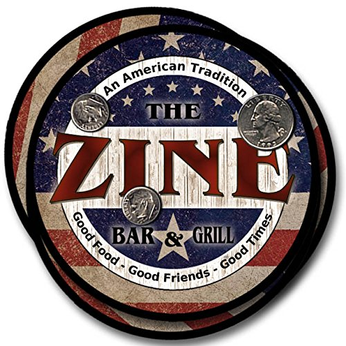 Zine Bar and Grill Rubber Drink Coasters - 4 Pack -