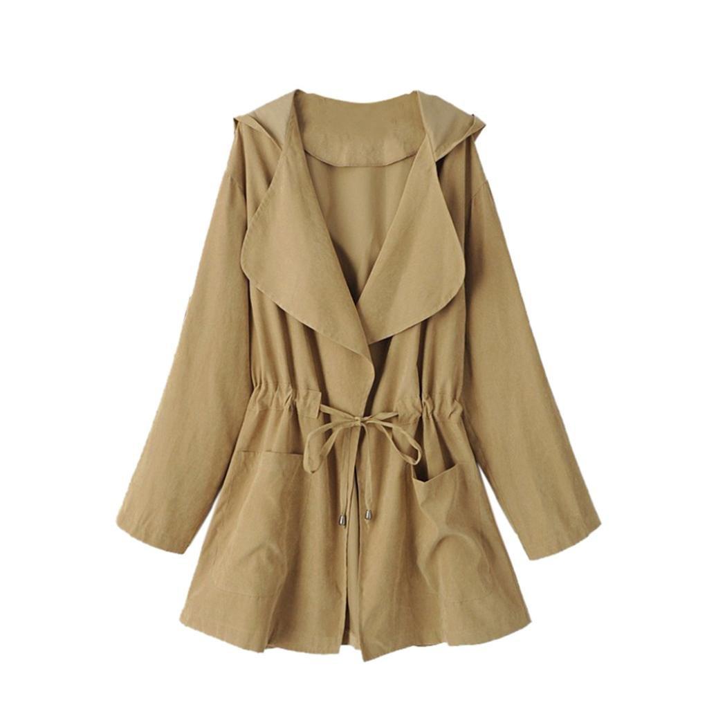Short Windbreaker,Women Jacket Open Front Drawstring Waist Hooded Cardigan Thin Parka Coat Outwear (Khaki, Asian:XL) by WM&MW