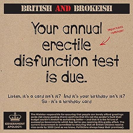 Annual Erectile Disfunction Test Humorous Birthday Greeting Card