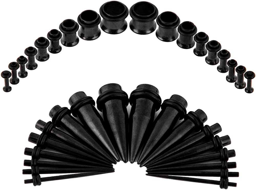 Bodystars Ear Gauges Stretching Kit - 36Pcs Stainless Steel Tapers and Plugs Set, Prefect for Heavy Metal, Punk Rock, Tattoo, Street or Daily Wear