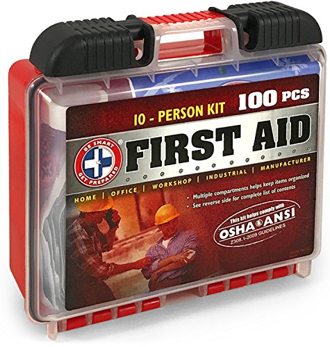 Price comparison product image Be Smart Get Prepared 100 Piece First Aid Kit, Exceeds OSHA ANSI Standards for 10 People - Office, Home, Car, School, Emergency, Survival, Camping, Hunting, and Sports