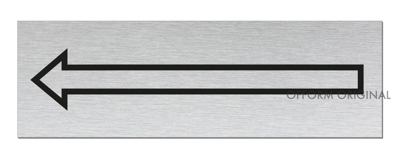 Tü rschild   Hinweisschild-Richtungspfeil   Aluminium Edelstahlschilder-Optik   Format 240x80 mm   vollflä chige Selbstklebeausstattung   Nr.26036-S Ofform