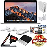 6Ave Apple 13.3 MacBook Pro with Touch Bar (Mid 2017, Silver) MPXX2LL/A + Padded Case For Macbook + Apple AirPods Wireless Bluetooth Earphones Bundle