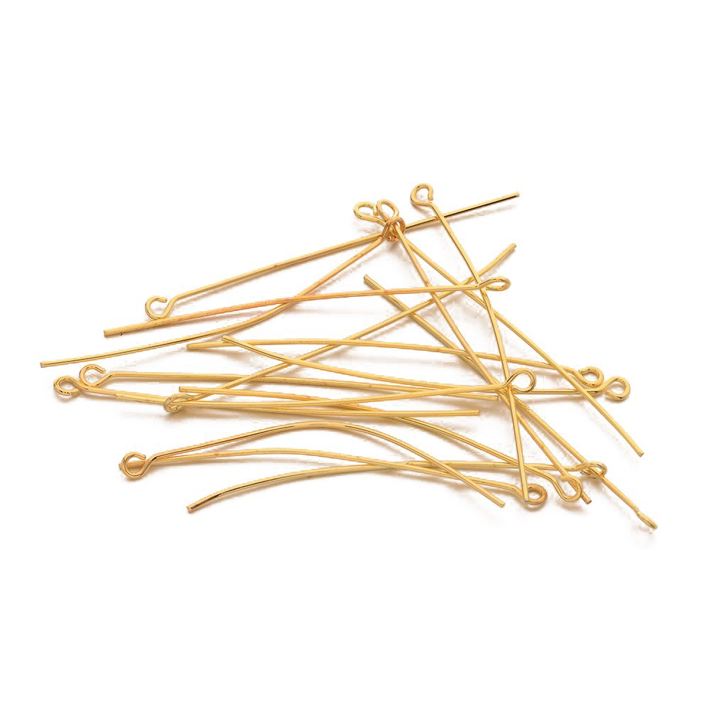 Pandahall 100pcs 2 Inch Golden Plated Brass Open Eye Pins Eye Pin 21 Gauge for DIY Jewelry Wrapping Looping Making
