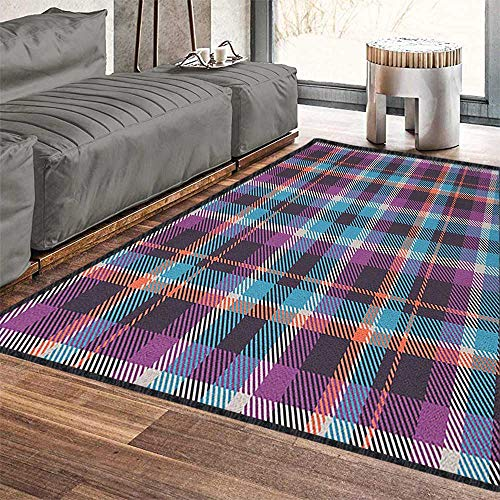 Checkered Home Decor Rug,Celtic Tartan Irish Culture Scotland Country Antique Tradition Tile for Dining Room Bedroom Violet Pale Blue Salmon 79