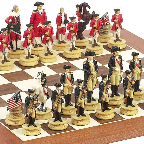 American Revolutionary War of Independence Chessmen & Stuyvesant St. Chess Board from Spain