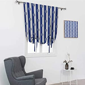 """GugeABC Ships Wheel Window Shades for Home, Sailor Stripes Breton with Silhouettes of Ships Wheels Classic Artwork Blackout Tie Up Panel, Royal Blue White, 35"""" x 64"""""""