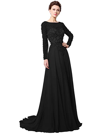 Clearbridal Womens Long Chiffon Prom Party Dress Long Sleeves