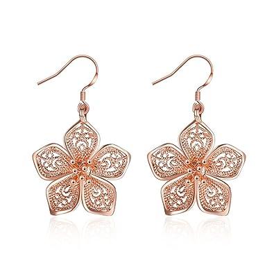 6f9a31da7 Silver Flower Dangle Earrings for Women Teen Girls Flower Drop Earrings  Plated Sterling Silver, by