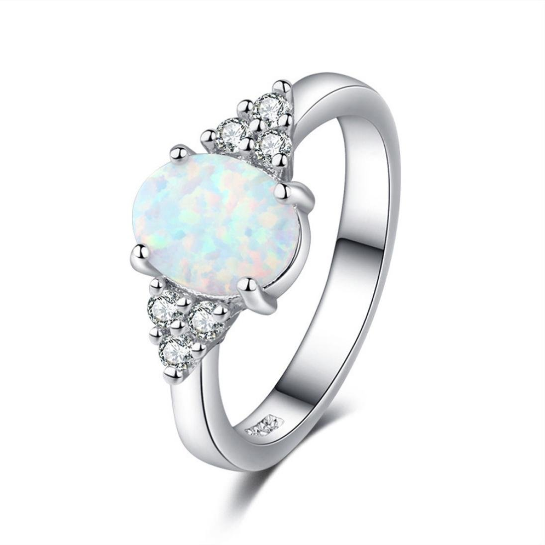 OldSch001 Women's Fashion Oval Opal Ring White Stone Band Rings Jewelry (Silver, 7)