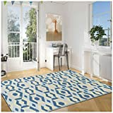 Superior Polygon Collection Area Rug, 6mm Pile Height with Jute Backing, Affordable and Contemporary Rugs, Multicolored Pastel Geometric Pattern – 8′ x 10′ Rug, Blue