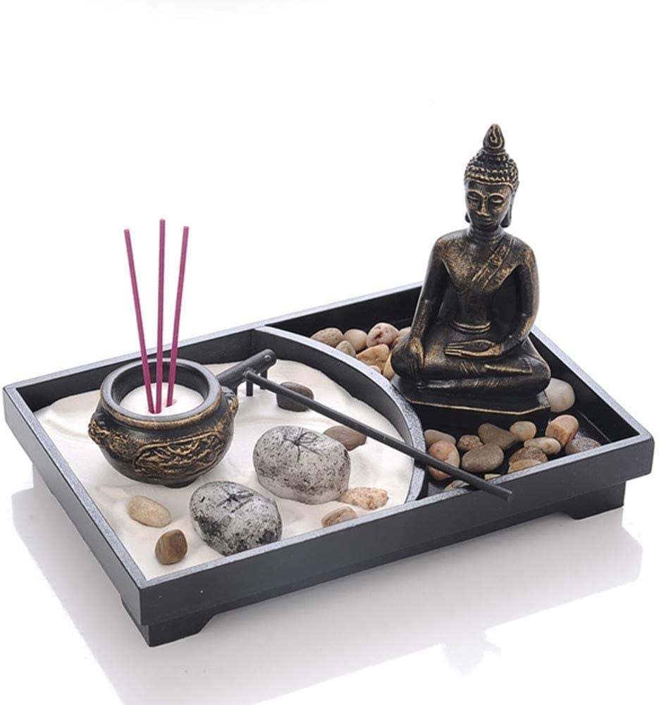 Spiritual Buddha Decoration, Tabletop Zen Garden Decoration with Buddha Sands Stones Incense Burner, Peaceful Meditation Statue Set for Home Decor Gift Relaxing