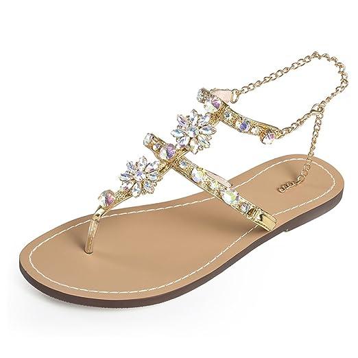289bcee7d2f1c3 HANMAX Womens Rhinestone Chain Thong Gladiator Flat Sandals Plus Size Gold