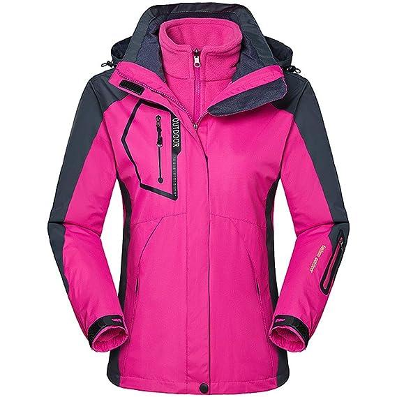 Zilee Mujer Chaqueta con Capucha de Esquí - 3 en 1 Traje Caliente Transpirable Abrigo de