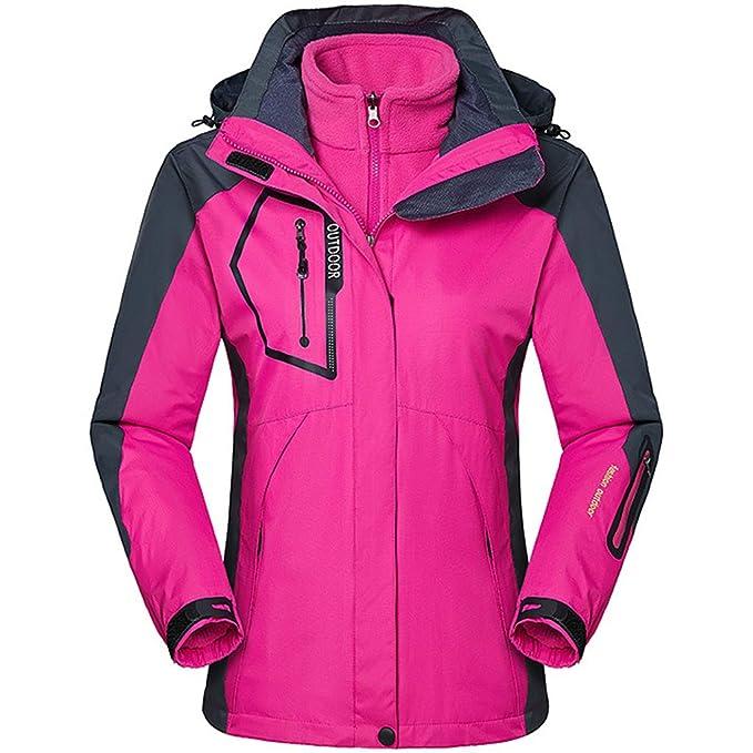 Zilee Mujer Chaqueta con Capucha de Esquí - 3 en 1 Traje Caliente Transpirable Abrigo de Nieve a Prueba de Viento Vellón Interior para Esquiar Corriendo ...