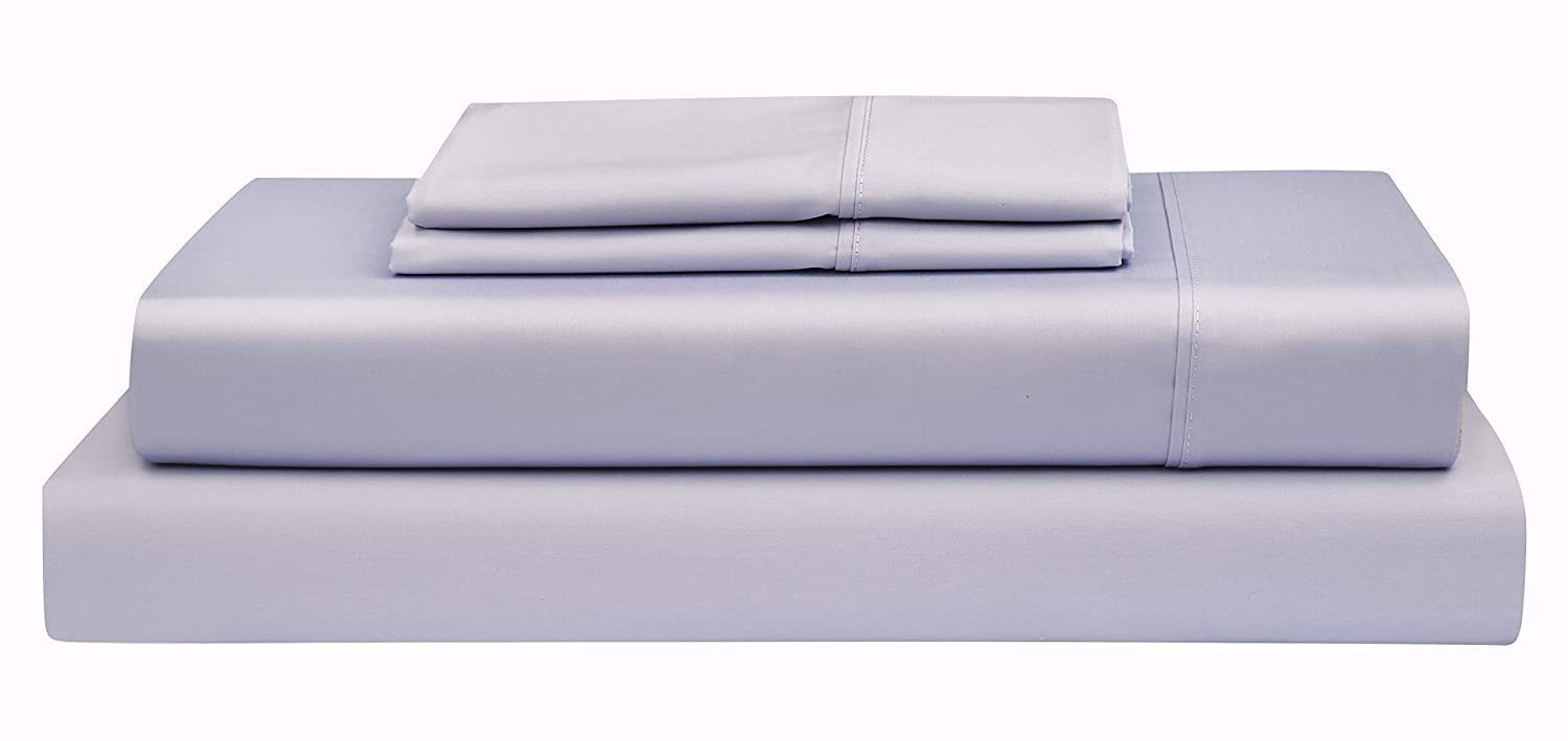 Lavender King Boston Linen Co. 500 Thread Count, 100% Cotton Sheet Set – Extra Soft, Luxury Finish – Smooth and Silky Sateen Weave Long-Staple Combed Cotton – 4 Piece Set – King, White