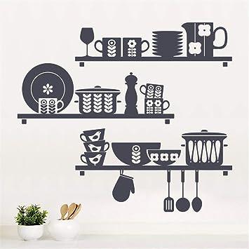 pegatinas de pared Cocina escandinava Cocina Plato Taza Olla ...