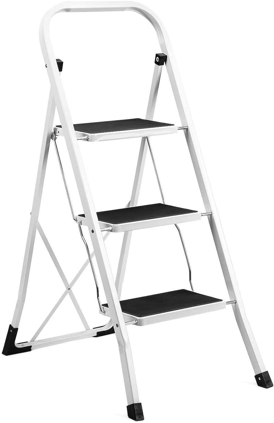 Delxo 3 Step Ladder Folding Step Stool Ladder with Handgrip Anti-Slip Sturdy and Wide Pedal Multi-Use for Household and Office Portable Step Stool Steel 330lbs White (3 Feet)
