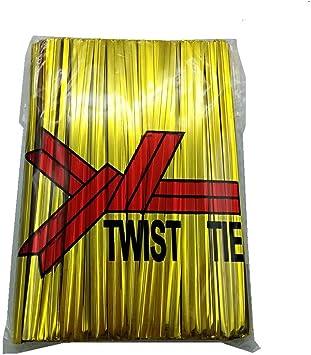 H-Laner 600Pcs 4Inches Metallic Twist Ties Gold