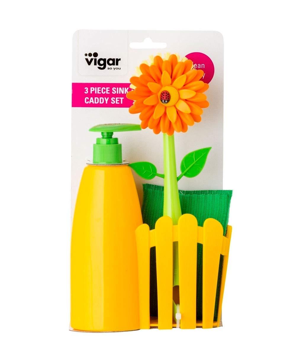 Eponge Vigar 4538 Distributeur de Savon Katia Brosse Vaisselle Polypropyl/ène Noir 15 x 8 x 25 cm