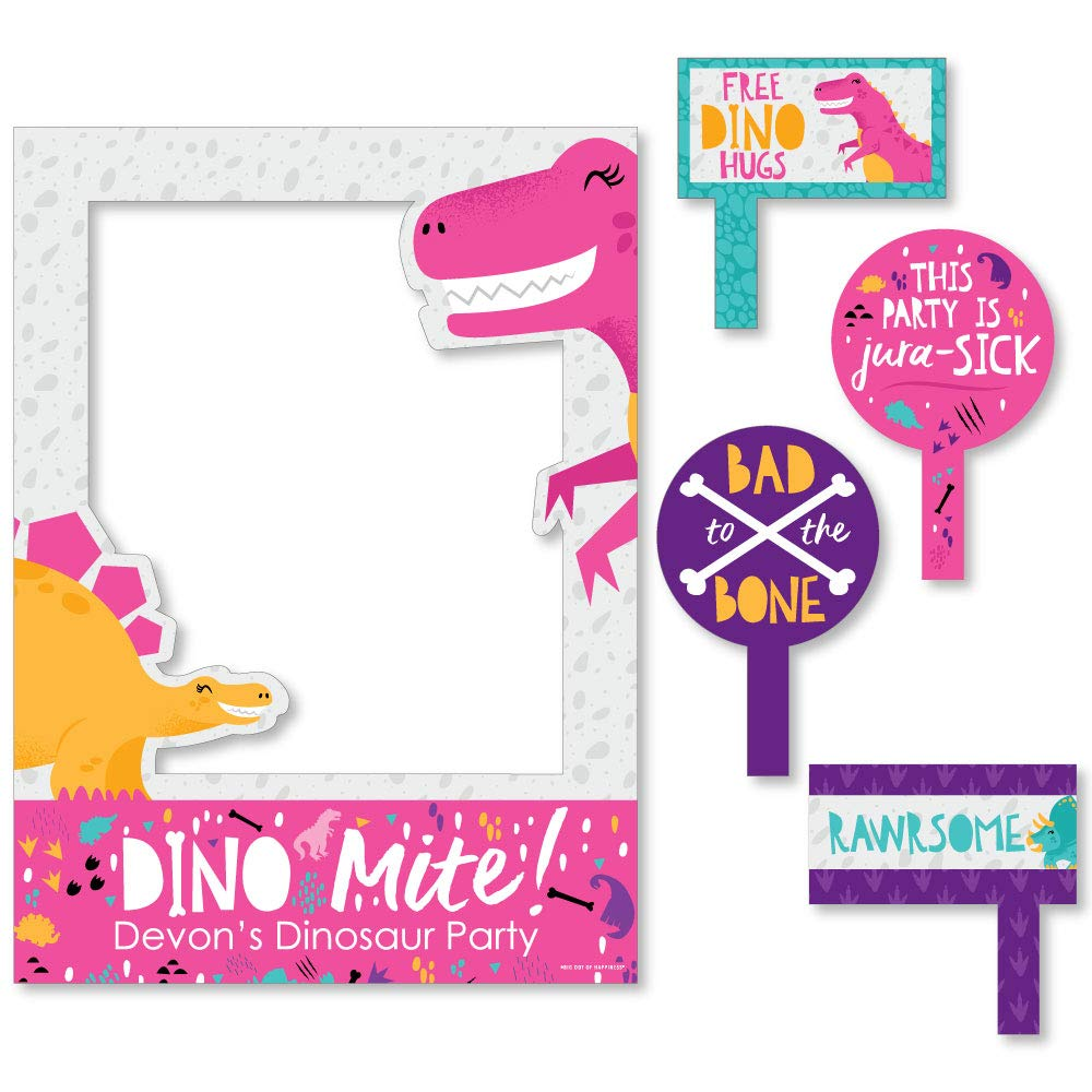 Big Dot of Happiness Roar Dinosaur Girl - Dino Mite T-Rex Baby Shower or Birthday Party Selfie Photo Booth Picture Frame and Props - Printed on Sturdy Material