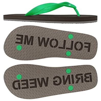 c76806312 FlipSidez Mens Follow Me Bring Weed Sand Imprint Flip Flops