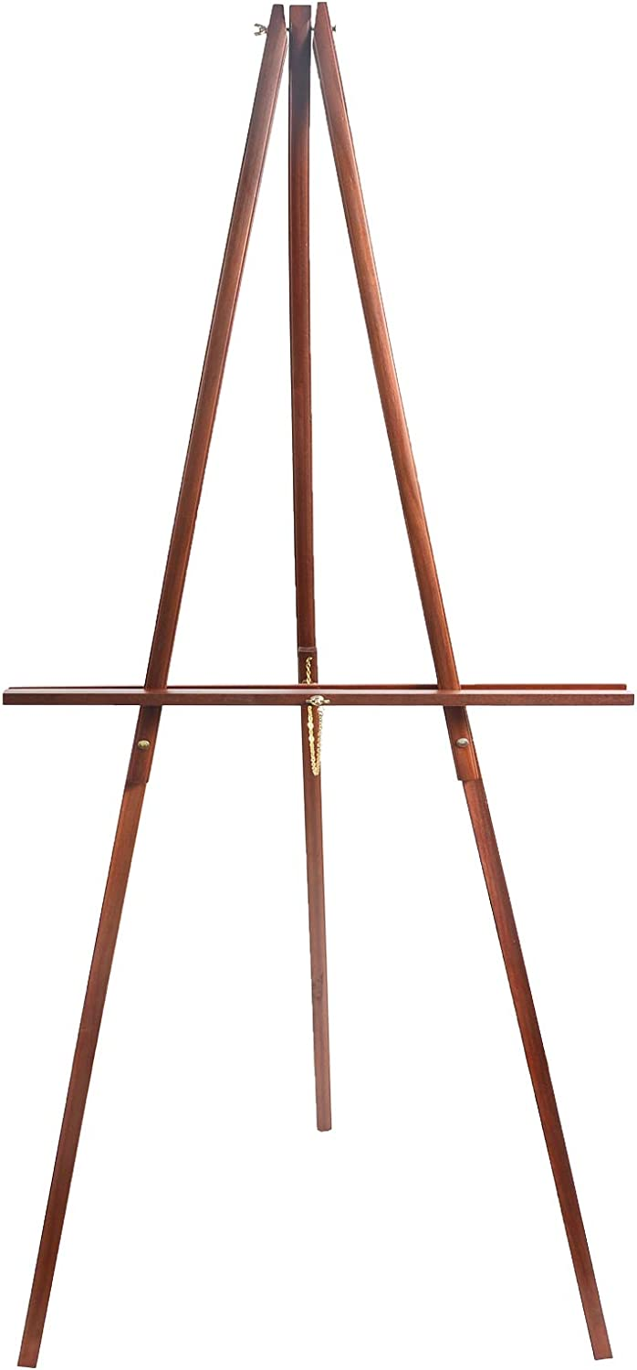 "CONDA 66"" Wooden Tripod Display Floor Easel & Artist Easel, Adjustable Tray Chain Pine Brown Wood"