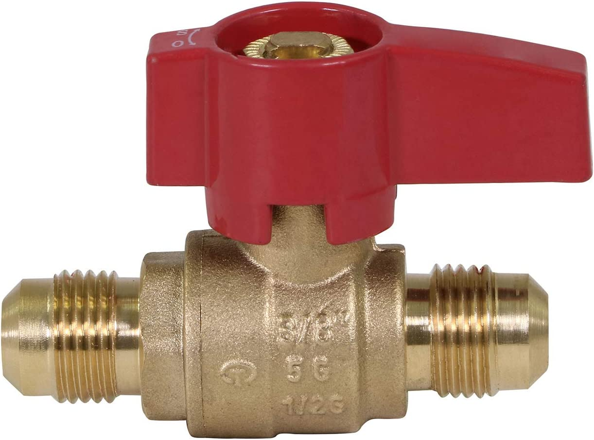 Midline Valve GUHW-5IS5IS GASLxL3838 Premium Brass Gas Ball Valve x 3/8 in. Flare Connections, 3/8 in. x 3/8
