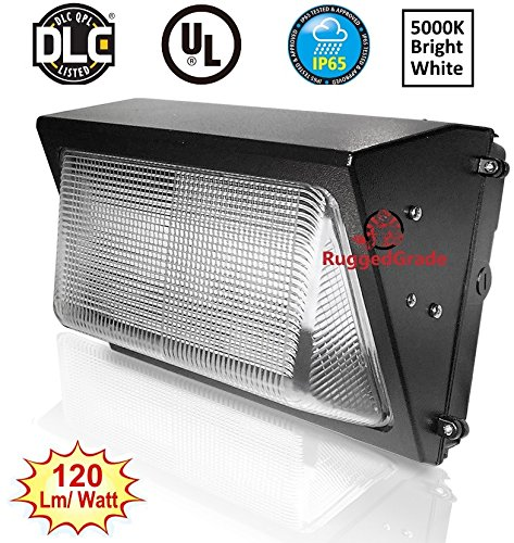60 Watt LED Wall Pack Light – 7,232 Lumens- Dusk to Dawn Sensor (photocell) built in - High Efficiency 120 Lumen to Watt - 5000K Bright White - 400-500W by RuggedGrade