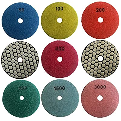 Easy Light 3 Inch Diamond Dry Polishing Pads for Granite Marble Polisher (7 Pcs Set, Grit 50-3000): Automotive