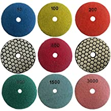 Easy Light 3 Inch Diamond Dry Polishing Pads for Granite Marble Polisher (7 Pcs Set, Grit 50-3000)
