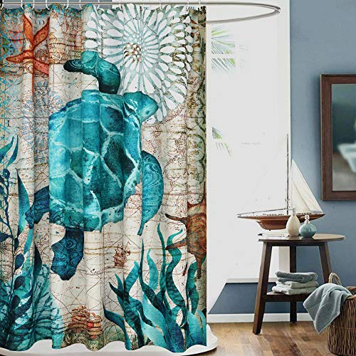 Uphome Sea Turtle Fabric Shower Curtain, Nautical Blue Map Shower Curtain Navigation Under The Sea Life Coastal Cloth Shower Curtain Heavy Weighted Waterproof, Bathroom Beach Decorations, 72x72 -
