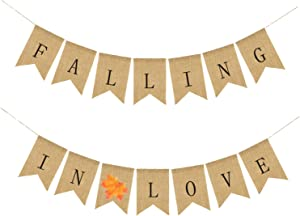Alasida Falling in Love Burlap Banner, Great for Thanksgiving Decor, Valentines, Autumn Room Decoration, Party Decor for Birthday, Wedding, Bridal Baby Shower, Anniversary and Graduation