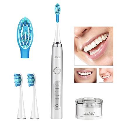 Cepillo Dental Eléctrico, Cepillo Dental Sónico Recargable Seago con 40000 Toques por Minuto, Bimotor