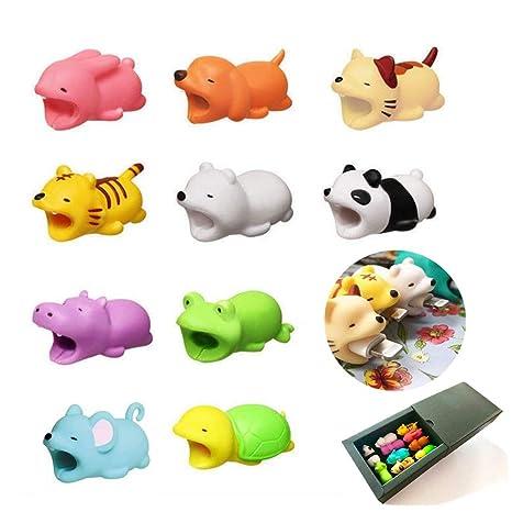 Paquete de 10 embellecedores de animales mordedores para cables Joyfulbid. Compatible con cables de iPhone