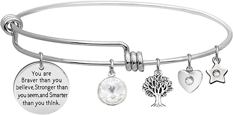 You Are Braver Than You Believe Stronger Than You Seem And Smarter Than You Think Inspirational Bracelet Cuff Bangle Gift For Women Girls