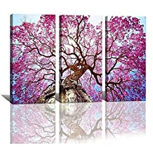 LKY ART Wall Art 3 Panel Cherry Blossom Tree Canvas Wall Art For Living Room Home Wall Decor Flower Pictures Canvas Prints Framed Art Oil Paintings Stretched Easy To Hang 24x48 Inches Overall