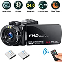 Camcorder Video Camera, iBacakys Full HD 1080P 30FPS 24MP Night Vision Digital Camcorders, 16X Digital Zoom 3.0 Inch LCD 270 Degree Rotation Screen YouTube Vlogging Camera(2 Rechargeable Batteries)