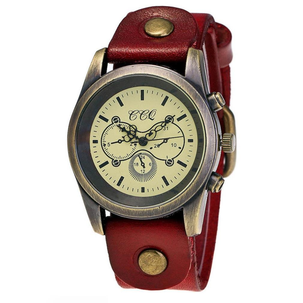 Ouneed® Uhren, Luxury Brand Vintage Watch Women Wristwatch Quartz Watch (Rot)