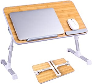Portable Laptop Table by Superjare, Foldable & Durable Design Stand Desk, Adjustable Angle & Height for Bed Couch Floor, Notebook Holder, Breakfast Tray - Bamboo Wood Grain