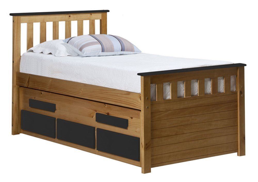Design Vicenza Captains Bergamo Gästebett, Holz, Kiefer antik mit Graphit Details, Single, 3 ft