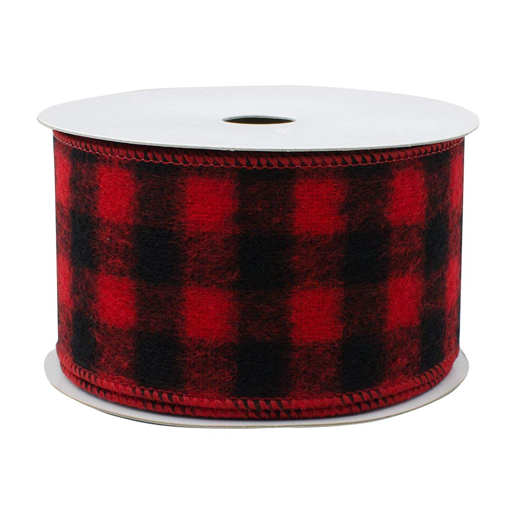 Buffalo Plaid Wired Ribbon Decoration - 2 1/2' x 10 Yards, Black & Red, Christmas Wreath, Farmhouse Decor, Garland, Gifts, Wrapping, Wreaths, Bows GiftWrap Etc.