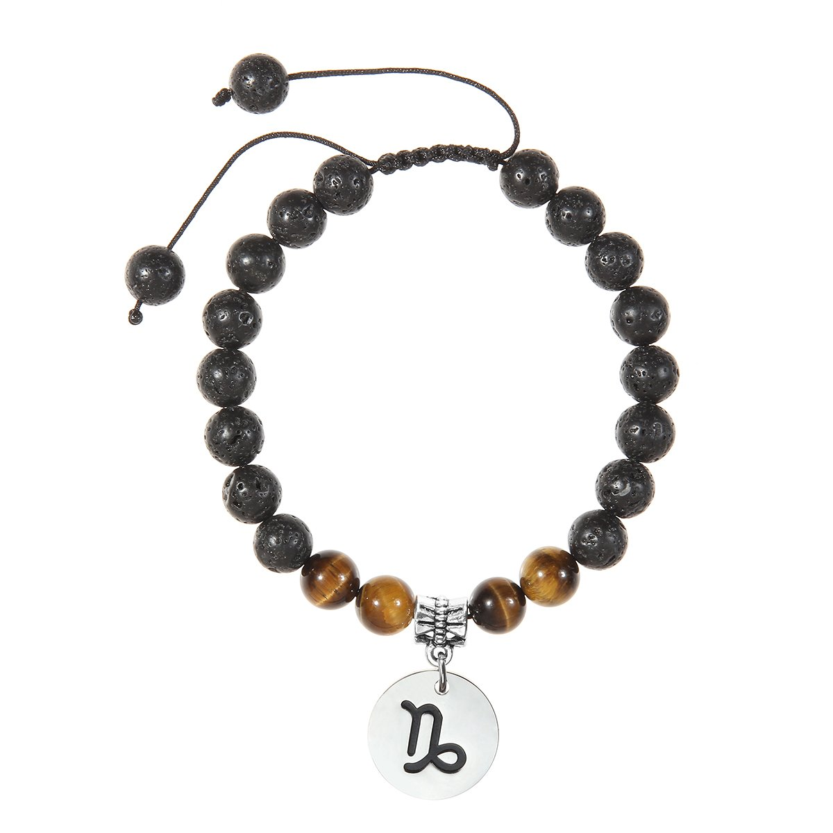 Meibai Handmade 8mm Lava Rock Tiger Eye Natural Stone Beads Bracelet with Constellation Zodiac Sign Charm Adjustable Size Chenzhou Meibai Jewelry Co. Ltd