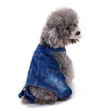 Angelof Vetement ChienChat Costume Chien Cowboy Bleu Jeans