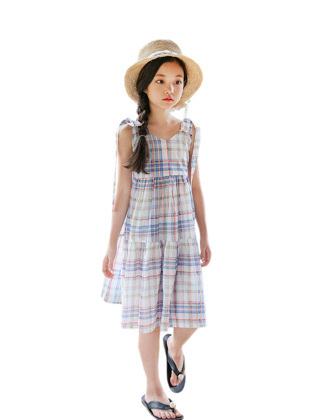 YueLian Little Girl's Strappy Dresses Plaid Travel Beachwear Summer Outfits (Blue,9-10 Years)
