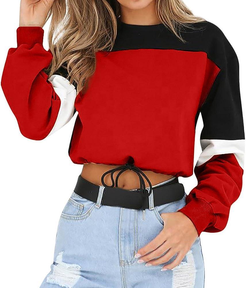 TWIFER Damen Langarm Sweatshirt Splei/ßen Farbe Pullover Sweater Bluse